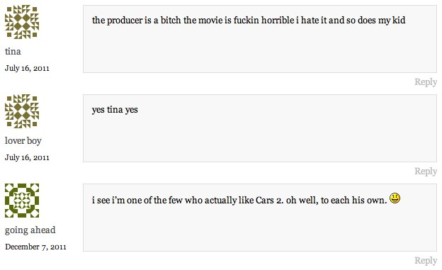 Cars 2 Comments