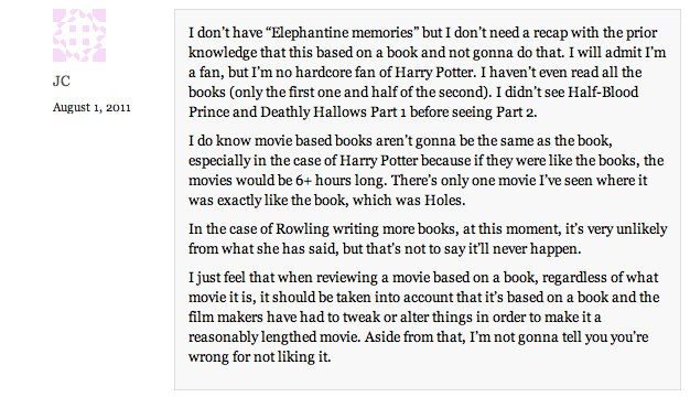 Harry Potter and Deathly Hallows Comments