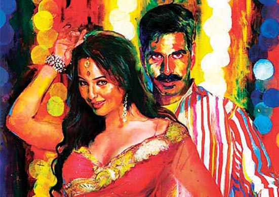 Bollywood poster art with Sonakshi and Akshay