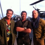 Arnold Schwarzenegger, Sylvester Stallone and Bruce Willis together on set in The Expendables 2