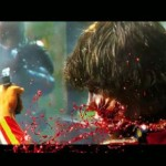 Slo mo shot of guy's face being blown off in Dredd 3D