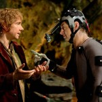 Freeman and Serkis in the Gollum scene in the movie The Hobbit