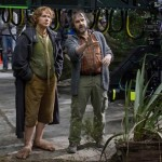 Director Peter Jackson on set with Martin Freeman in The Hobbit: An Unexpected Journey