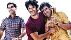 Actors Raj Kumar Yadav, Sushant Singh Rajput and Amit Sadh in the movie Kai Po Che