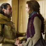 Ian McShane as the King with the princess in Jack The Giant Slayer