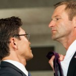Actors Rick Yune as Kang and Aaron Eckhart as President Asher in the movie Olympus Has Fallen