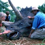 Dr Sattler (Laura Dern), Dr Grant (Sam Neill) and the kids with a Triceratops in Jurassic Park 3D