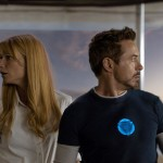 Actors Gwyneth Paltrow and Robert Downey Jr in the movie Iron Man 3