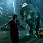 Jeff Goldblum runs from the T Rex in Jurassic Park 3D