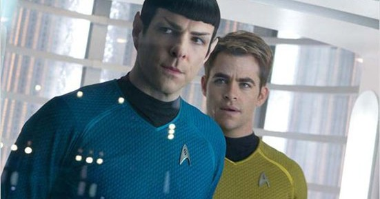 Actor Zachary Quinto as Spock and Chris Pine as Captain Kirk in the movie Star Trek Into Darkness