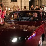The cars and babes scene (boring) in Fast & Furious 6