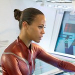 Zoe Saldana as Uhura in the movie Star Trek Into Darkness