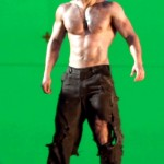 Green screen set with Henry Cavill shirtless in Man of Steel