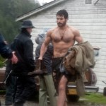 On set with the beefcake Henry Cavill in Man of Steel