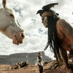 Silver the spirit horse 'talking' to Tonto in The Lone Ranger movie