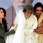 Actors Kareena Kapoor, Amitabh Bachchan and Arjun Rampal in the film Satyagraha