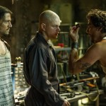 Actors Diego Luna, Matt Damon and Wagner Moura in the movie Elysium