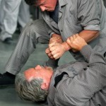 Stallone and Schwarzenegger throw punches in Escape Plan