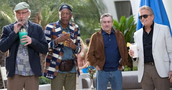 Actors Kevin Kline, Morgan Freeman, Robert De Niro  and Michael Douglas in the movie Last Vegas