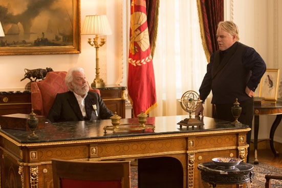 Donald Sutherland and Philip Seymour Hoffman in The Hunger Games: Catching Fire
