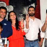 Some of the cast of Jai Ho: (L-R) Naman Jain, Salman Khan, Sana Khan, Ashmit Patel and Yash Tonk