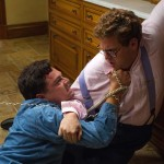 Leonardo DiCaprio and Jonah Hill in a drug induced battle in The Wolf of Wall Street