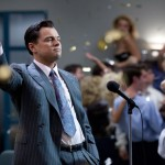 Actor Leonardo DiCaprio as Jordan Belfort in the movie The Wolf of Wall Street