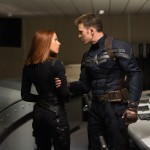 Scarlett Johansson as Black Widow and Chris Evans as Cap in Captain America: The Winter Soldier