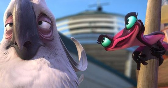 Nigel (Jemaine Clement) and Gabi (Kristen Chenoweth) share a moment in Rio 2