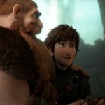 Stoick (Gerard Butler), Hiccup (Jay Baruchel) and Valka (Cate Blanchett) in How To Train Your Dragon 2