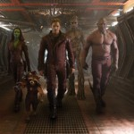 The heroes - Gamora (Zoe Saldana), left, Rocket Racoon (voiced by Bradley Cooper), Peter Quill/Star-Lord (Chris Pratt), Groot (voiced by Vin Diesel) and Drax the Destroyer (Dave Bautista) - in Guardians of the Galaxy