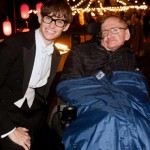 Eddie Redmayne and the real Stephen Hawking on the set of The Theory of Everything