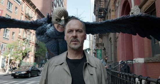 Michael Keaton and the 'bird' on his shoulder in Birdman