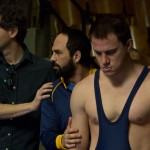 Director Bennett Miller with Mark Ruffalo and Channing Tatum in Foxcatcher