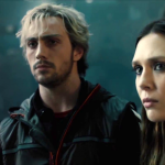 Aaron Taylor-Johnson (Quicksilver) and Elizabeth Olsen (Scarlett Witch) as the twins in Avengers: Age of Ultron