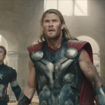 Chris Evans and Chris Hemsworth in Avengers: Age of Ultron