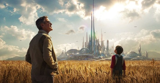 George Clooney and Thomas Robinson in a promo pic for Tomorrowland