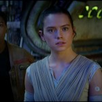 John Boyega as Finn and Daisy Ridley as Rey in Star Wars: The Force Awakens