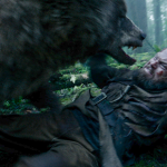 The bear and Leonardo DiCaprio in The Revenant