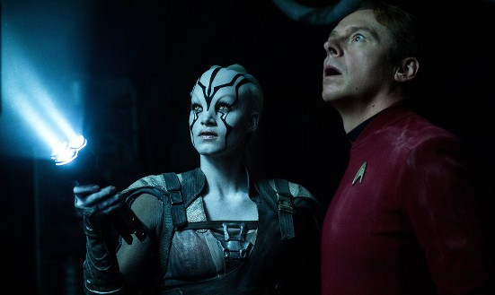 Jayla and 'Montgomery Scotty' in Star Trek Beyond