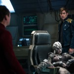 Simon Pegg, Sofia Boutella and Chris Pine on the bridge of some other ship in Star Trek Beyond