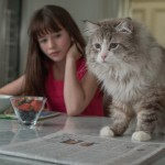 Malina Weissman and the cat in Nine Lives