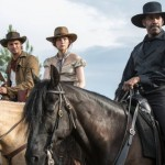 Chris Pratt, Haley Bennett and Denzel Washington in The Magnificent Seven