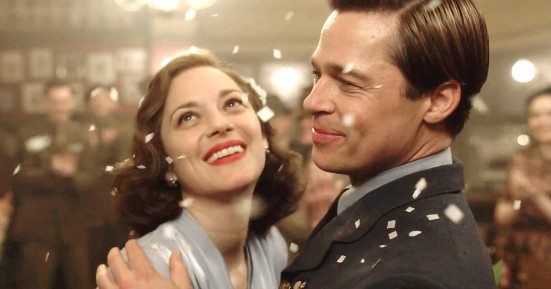 Marion Cotillard and Brad Pitt in Allied