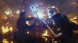 Finn (John Boyega) and Captain Phasma (is there really an actor under there) in Star Wars: The Last Jedi