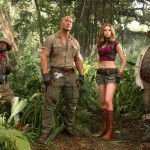 Kevin Hart, Dwayne Johnson, Karen Gillan and Jack Black movie still from Jumanji: Welcome to the Jungle